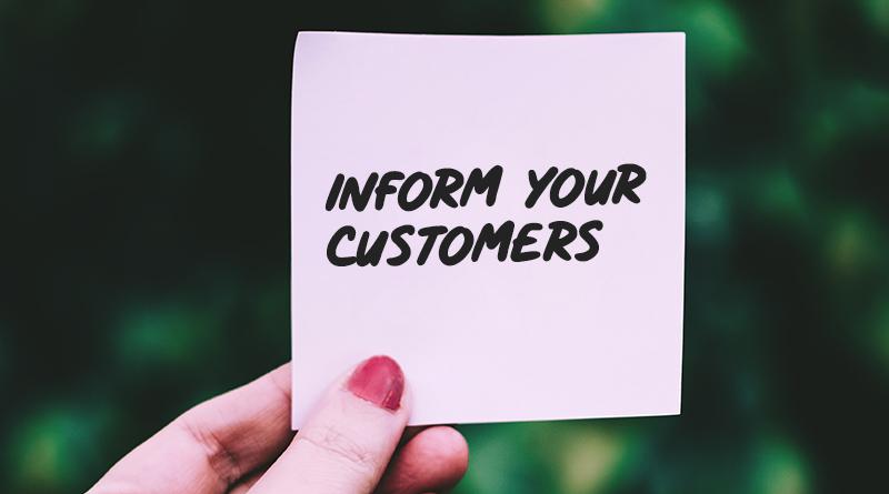 اطلاعات دادن به مشتری